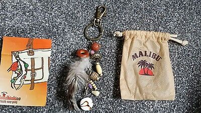 Malibu Feather Keyring / bag charm and pouch Gift