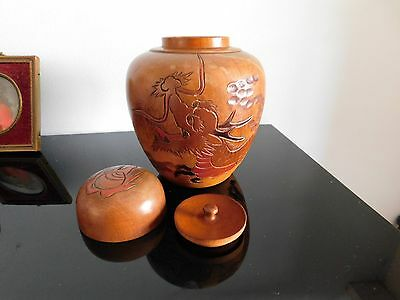 small chinese wooden ginger jar Dragon