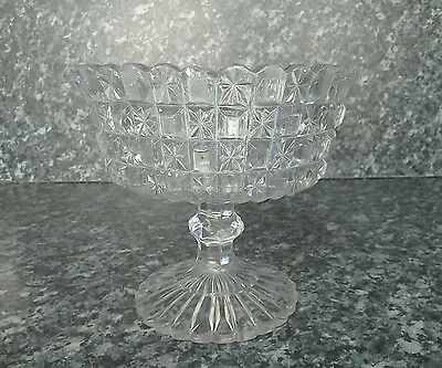 Vintage decorative cut glass type bowl on stand