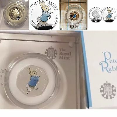 Peter Rabbit 2017 ROYAL MINT 50p Silver Proof (2) Coins with Consecutive Numbers