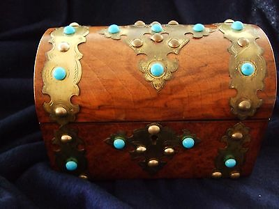 Antique mahogany brass strapwk Victorian wood tea caddy box turquoise glass bead