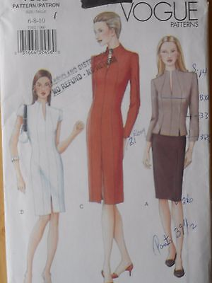 Vogue Sewing Pattern--Misses' FITTED DRESS-TOP-SKIRT--Size: 6-8-10-UNCUT