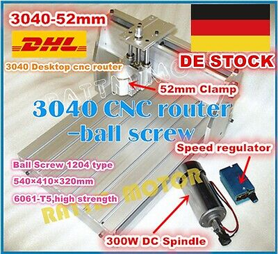 Desktop 3040 CNC Router Milling Engraver Machine Ballscrew Frame+DC 300W Spindle
