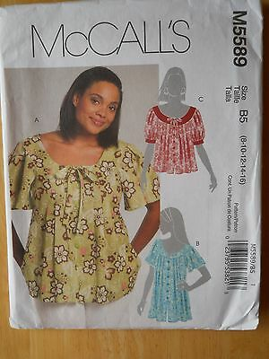McCall's Sewing Pattern-Misses' & Women's TOPS-BLOUSE-Sizes: 8-16-UNCUT!