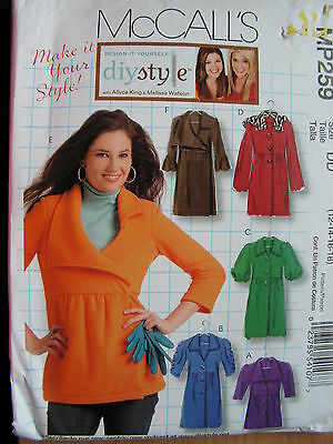 McCall's Sewing Pattern--Misses' Unlined JACKETS and COATS-DIY STYLE-Sizes:12-18