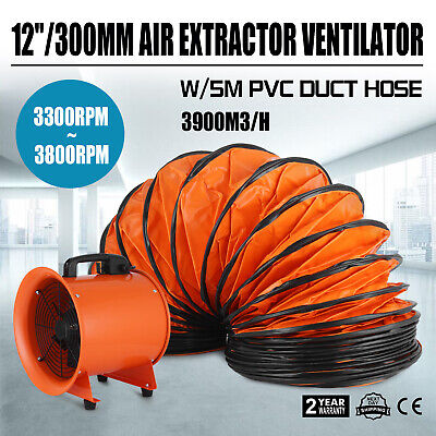 12 Dust Fume Extractor/Ventilation Fan+5m Ducting Portable High Velocity Garage