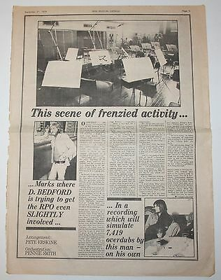 MIKE OLDFIELD Double Page 1974 Original UK Article NME