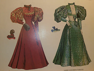 Vintage 1984 Paper Dolls & Clothes of the 1890's Two Dolls Two Gowns Cut Out
