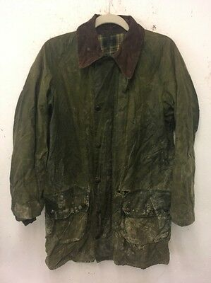 Size S Green Zip Fastening Distressed Wax Jacket By Barbour