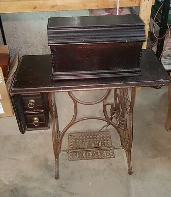 Antique New Home Treadle Sewing Machine Rare 2 Drawer Model