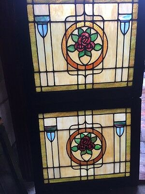 Sg 1461 Match Pair Antique Stainglass Rose Pattern Windows 25.25 X 28.25