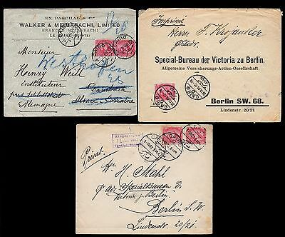 Old Cover Selection EGYPT 3 Stück Briefe Cairo-Germany gelaufen 1903 1907 1910