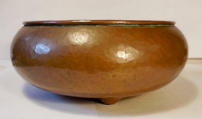 RARE! 1909-1912 ROYCROFT HEAVY HAND-HAMMERED COPPER FOOTED BOWL-Early Mark w/Dot