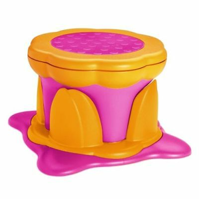 Kids Kit Kiddy Step Stool Seat Storage Box Non Slip Rubber Height Adjust - Pink