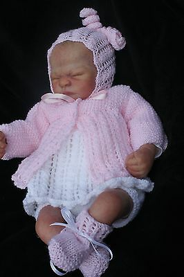hand knitted set  matinee, dress, pants, hat, booties 20/22 in reborn 0/3m baby