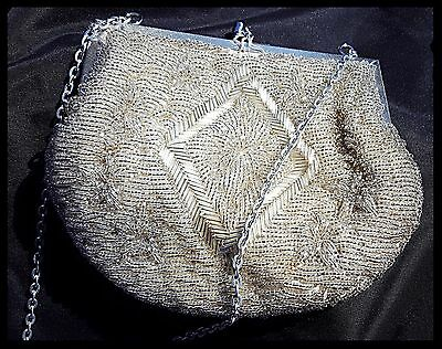 VINTAGE MAGID White Clear Beaded Party Evening PURSE Clutch Flapper w/chain