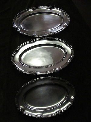 french silverplate Christofle 3 oval platters old marly pattern chysanthemum