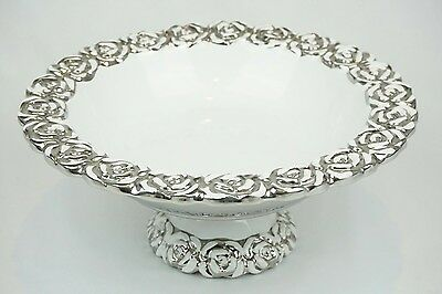 Large White And Silver Floral Ceramic Fruit Bowl