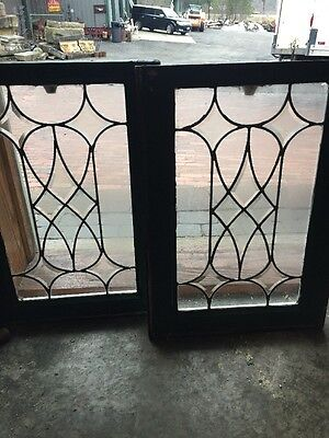 Sg 1035 Matched Pair Antique Beveled Glass Leaded Glass Windows