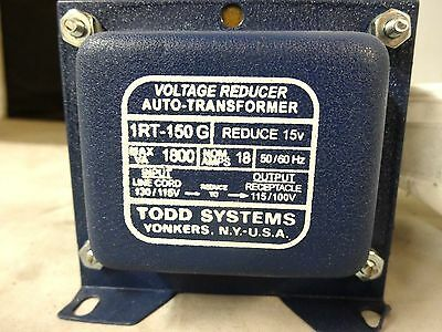 Step Down Electrical Transformer TODD SYSTEMS USA 1RT-150G 120 volts to 100V