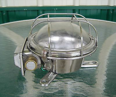 Vintage Stainless Steel Nautical Industrial Ceiling Light Rewired (Lot F)