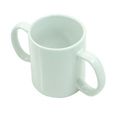 AIDAPT Two Handled Ceramic Mug - White - FREE POSTAGE