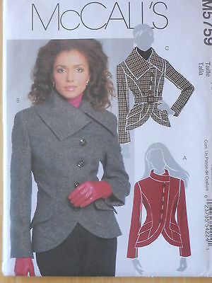 McCall's Sewing Pattern--Misses' LINED JACKETS & BELT--Sizes: 6-12--UNCUT!