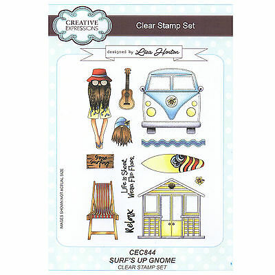 Creative Expressions Surf's Up Gnome A5 Clear Stamp Set CEC844