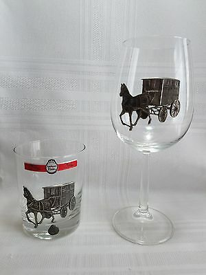 Julien De Rey Wine Glass & Highball Glass With Pewter Horse Drawn Carriage