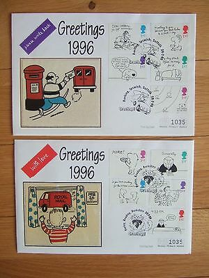 GREAT BRITAIN 1996 GREETINGS 10v MERCURY SILK FIRST DAY COVERS
