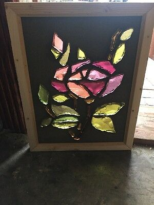 Sg 1467 Antique Floral Stainglass Chunk Glass Window 15.5 W By 19.5 H
