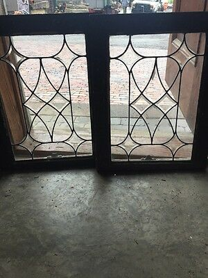 Sg 1469 Match Pair Antique Beveled And Leaded Glass Windows 18.5 X 23.5