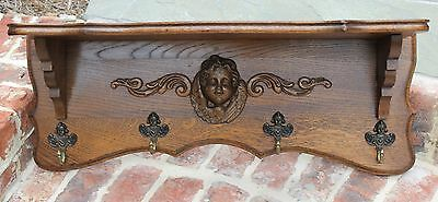 Antique French Oak Wall Shelf Coat Hat Copper Pot Rack Kitchen Cherub PETITE