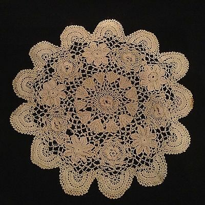 Two Vintage Lace Crochet Doileys Doilies Table Mats. Charity Auction.