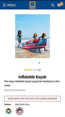 Aldi Inflatable Kayak Including Bag & Poles Complete Used Once!