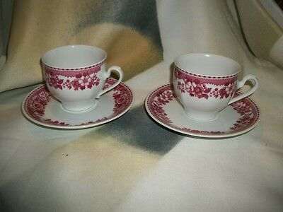 Set of 2 Vintage Mitterteich Red / White Floral China Cups and Saucers