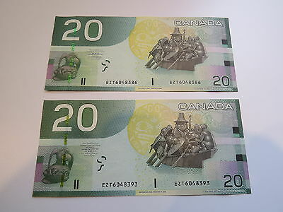 2004 Canadian 20$ Dollar Banknote Consecutive Crispy and uncirculated