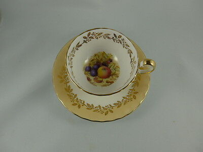 Vintage Aynsley China Carmel colored and Fruit footed Cup and Saucer