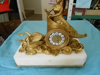 Exquisite Antique French Ormolu Timepiece By R. Vacket Paris On White Alabaster