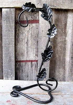Vintage Freestanding Black Wrought Iron Hanger Home & Garden Plant Stand Hook