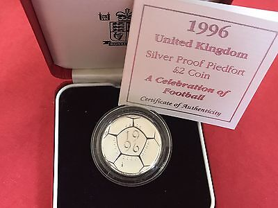 1996 Royal Mint Piedfort Silver Proof £2 Two Pounds Coin Football Boxed & COA