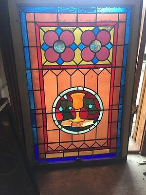 Sg 1474 Antique Chalice And Book Stainglass Window 32.5 X 48