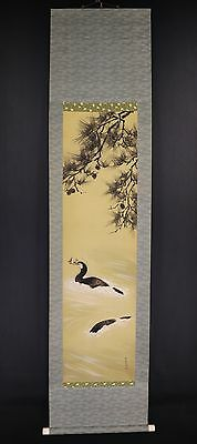JAPANESE HANGING SCROLL ART Painting  Asian antique  #E6037