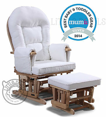 WHITE SUPREMO BAMBINO Nursing Glider Rocking Recliner Maternity Chair with stool
