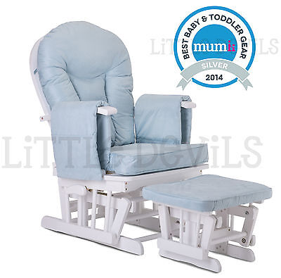 WHITE WOOD - BLUE SUPREMO BAMBINO Nursing Glider Rocking Maternity Chair Stool