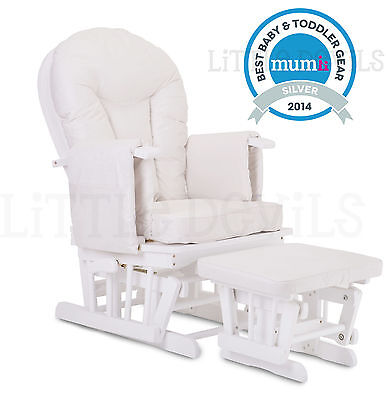 WHITE WOOD - WHITE SUPREMO BAMBINO Nursing Glider Rocking Maternity Chair Stool