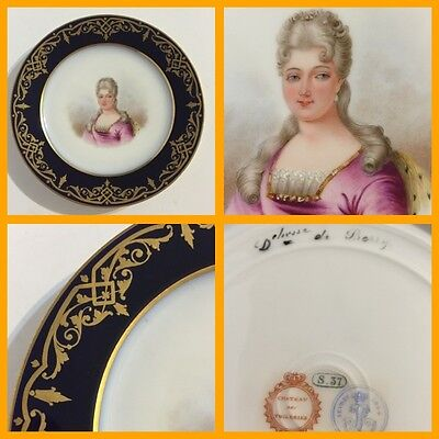 Antique 19th C. Sevres Cabinet Plate - Duchesse de Berry - Caroline de Bourbon