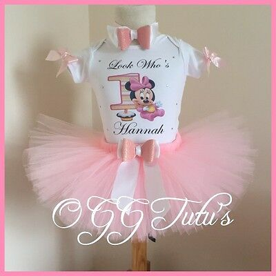 Baby Girls 1st birthday Pink Minnie Mouse Personalised with Name tutu Set bow