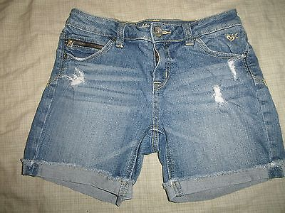 "Girls Justice Blue Jeans Shorts Size 12 R Heart Logo 26"" Waist"