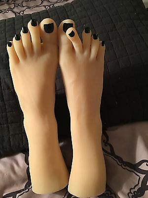 Girls Womens Dancer Feet Silicone Mannequin Foot Model Long Toes Black Polish